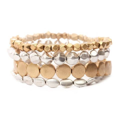 MULTI STRETCH SILVER/ GOLD BRACELETS SET